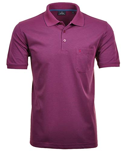 Ragman Herren Kurzarm Softknit Poloshirt , Beere , L