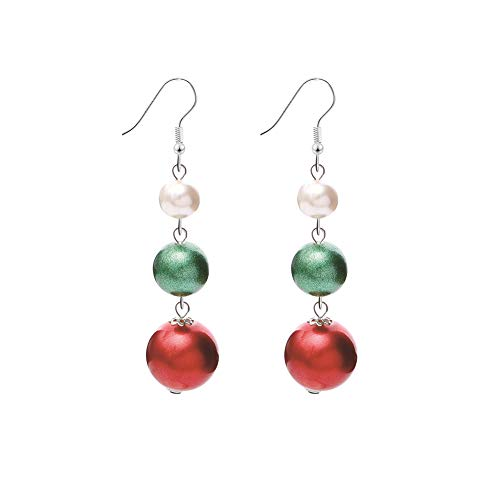 Christmas Balls Dangle Earrings Red White Green Holiday Party Drop Earrings, Christmas Idea Cute Christmas Costume Jewelry for Women Girls