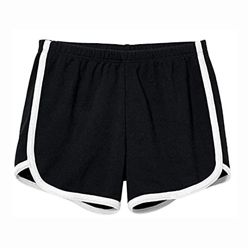 DERRINS Shorts Deportivo Mujer - Pantalón Corto Running Mujer - Pantalón Corto Deportivo Mujer - Pantalón Corto Deporte Mujer - Short Crossfit Mujer - Pantalones Cortos Sport Mujer (Negro)