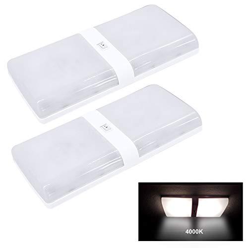 Facon 12V LED Deckenleuchte Innenbeleuchtung 6W 420LM quadratische Leuchte mit EIN/AUS-Schalter für Wohnmobil, Wohnmobil, Wohnwagen, Anhänger, Boot, Marine und Fahrzeug