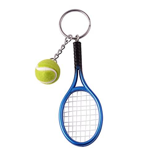 Raqueta de tenis de recuerdo mini llavero creativo llavero coche mochila colgante azul
