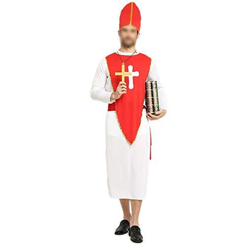Feynman Disfraz de Papa Robe Misionero para Adultos Traje de Pastor Sacerdote para Fiesta de Cosplay Carnaval de Halloween