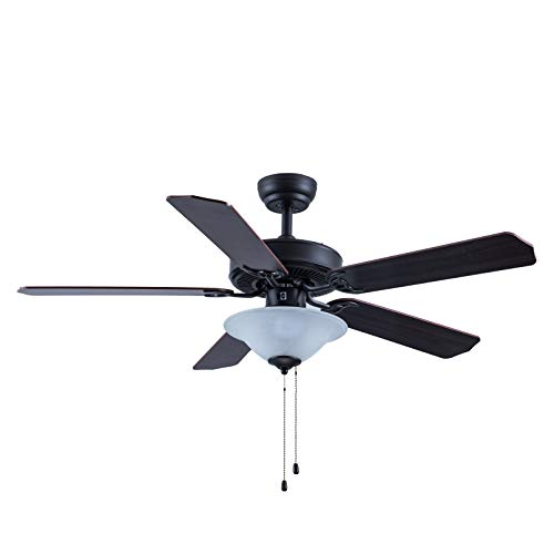 CJOY Ceiling Fan with Light Kit, 52 Inch Pull Chain Control Ceiling Fan with 5 Reversible Blades, Glass Light Bowl, for Indoor/Outdoor, Rubbed Bronze