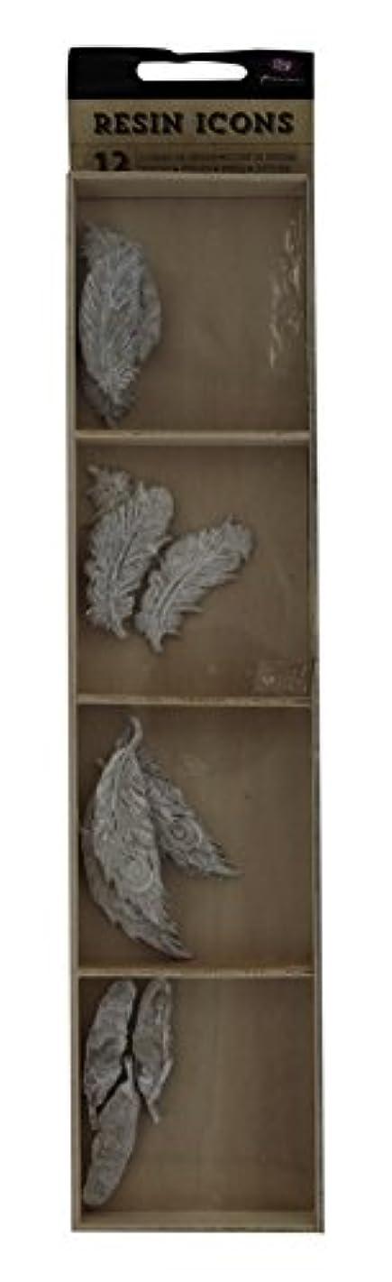 Prima Marketing Resin Icon Embellishments-White Feathers 12-Pack