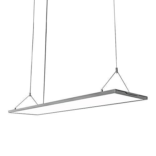 KJLARS LED Pendelleuchte Dimmbar Hoehenverstellbar 36W Hängeleuchte Pendellampe für Büro LED Panel Hängelampe, für esstisch Büroleuchte Schlafzimmerleuchte Wohnzimmerlampe, 120cm*20cm