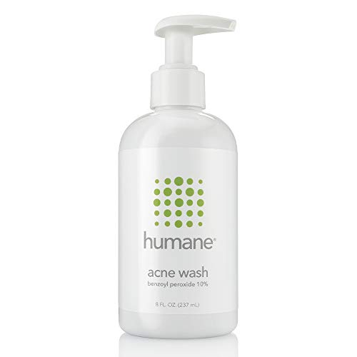 Humane Maximum-Strength Acne Wash, 10% Benzoyl Peroxide Acne Treatment, Dermatologist-Tested, Vegan, Cruelty-Free, Face, Skin, Back and Body Cleanser, 8 oz