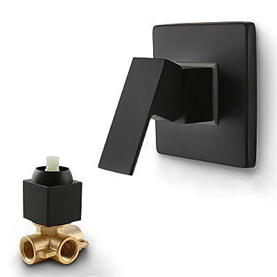 SKOWLL Shower Valves Wall Mount Copper Faucet Shower Rough-In Valve Bathroom Trim Kit Single Handle Tub Shower Valve Mixer, Matte Black