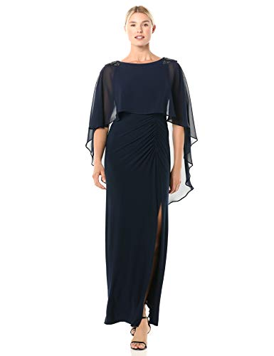 Adrianna Papell Women's Chiffon Capelet Jersey Gown, Midnight, 12 (Apparel)
