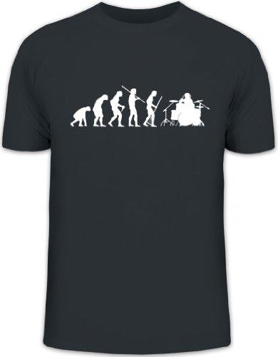 Shirtstreet24, Evolution Drummer, Schlagzeuger Schlagzeug Drum Kit Herren T-Shirt Fun Shirt Funshirt, Größe: S,Darkgrey