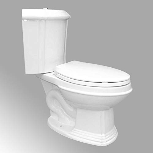 Sheffield Corner 2-Piece 0.8 GPF/1.6 GPF WaterSense Dual Flush Elongated Toilet In White With Slow Close Seat Heavy Duty Porcelain Renovators Supply Manufacturing