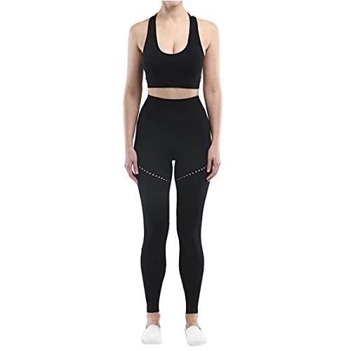 NIDONE Ropa para el Atletismo inconsútil de la Yoga de Las Mujeres del Vestido Ejercicio Conjunto de Cintura Alta Pantalones Legginngs Crop Top Negro L 2 Piezas