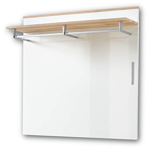 RENO Garderobenleiste Weiss Hochglanz / Buche - Moderne Hutablage & zuverlässige Wandhaken für Jacken & Taschen - 100 x 99 x 30 cm (B/H/T)
