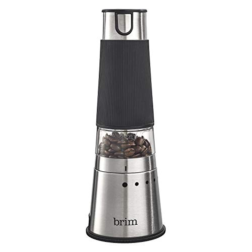 Brim Electric Handheld Burr Coffee Grinder, Simple One-Touch Operation, 9 Precise Grind Settings from Espresso to French Press, Removable 30g Ground Container for Easy Clean Up, Stainless Steel/Black