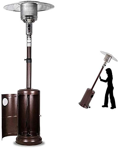 YANJ Patio Calentadores de propano, Terraza Calentador con Ruedas, Regulable en Altura Protección de inclinación Flameout