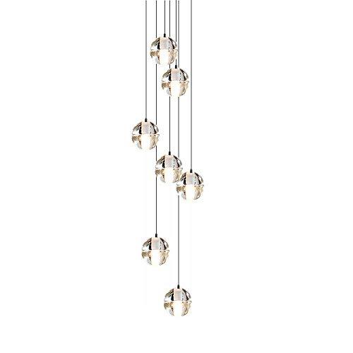 CARYS Lámpara Araña de Techo de Cristal, LED 7-light para Moderno Decoración Instalación Fija con Lámpara de Techo para Recibidor, Barra, Cocina, Comedor, Habitación Niños