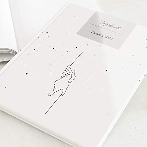 sendmoments Personalisiertes Tagebuch Erwachsene mit Namen oder Lieblingsspruch, Geschenkidee für Freunde, leeres Notizbuch, Eintragbuch, Hardcover-Buch Hochformat 32 Seiten oder mehr, Strichzeichnung