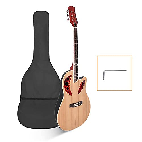 """41"""" Acoustic Guitar, Full-Size Beginner Round Back Acoustic Guitars, Spruce Top Grape Hole Output Modeling, for Students Cost-Effective Professional Guitar Suitable (Wood color)"""