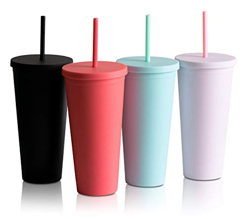 Trugos 22oz (Set of 4) Classic Matte Acrylic Tumbler with Lid and Straw - Reusable Cup Great for Travel Mug Gift Cold Coffee