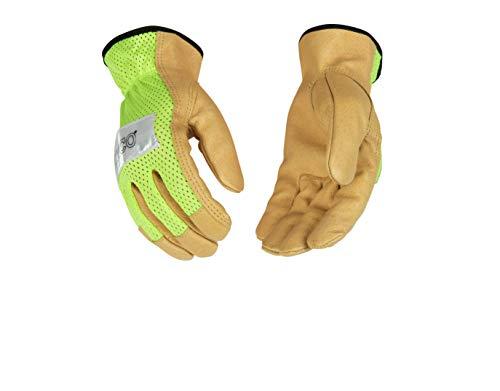 Kinco 035117908031 Hi Vis Handschuhe aus Schweinsleder, Größe S, Grün