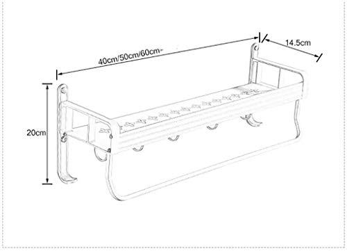 Handtuchhalter Raum Aluminium Badezimmer Regal Wandhalterung Handtuchhalter Gesamtdarstellung Hakenleisten Elegant Design Obenliegende Gegenstände Kapazität (Size : 60CM.)
