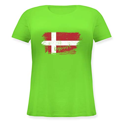 Handball WM 2019 - Dänemark Vintage - M (46) - Hellgrün - T-Shirt - JHK601 - Lockeres Damen-Shirt in großen Größen mit Rundhalsausschnitt