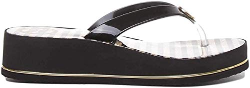GUESS Enzy Flip Flops Women Black/Gold - 6.5 - Flip Flops Shoes