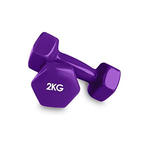Focus Sport 2er Set Vinyl Hanteln Paar Kurzhanteln ideal für Gymnastik Aerobic Pilates Hantelset Gewichte 2kg Violett
