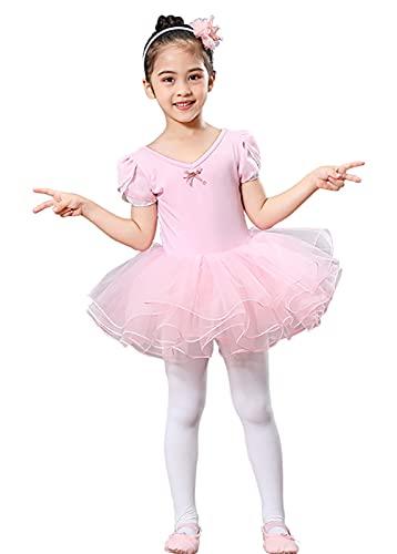 ZRFNFMA Kinderballett Dance Röcke Mädchen Bow Rock Tanzkleid Kinder Performance Kostüme Ballettkleider pink-XL