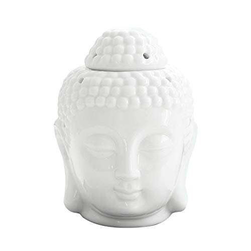 Buddha Oil Burner,Ceramic Buddha Head Essential Oil Burner Aromatherapy Wax Melt Burners Oil Diffuser Tealight Candle Holder for Yoga Spa Home Bedroom Decor Gift
