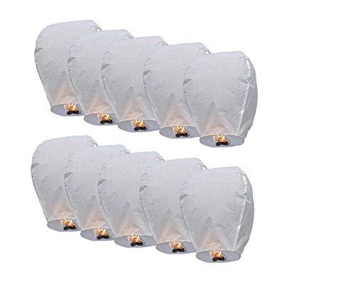 TellementHappy Lanterne chinoise volante 100% biodégradable blanche qualité supérieure en papier Le Lampion mesure 90cm*60cm idéal pour vos événements mariage fêtes nouvel an Lot de 30