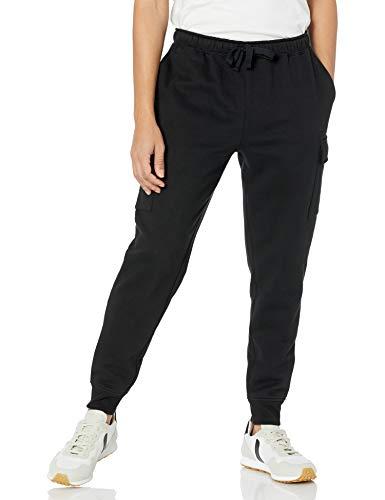 Amazon Essentials Cargo Fleece Jogger Sweatpant Pantaloni della Tuta, Nero, M