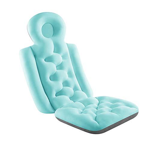 IOOI Alfombrilla de baño de cuerpo completo con cojín, 3D transpirable, parte trasera antideslizante para bañera, cuello y espalda, para padres y niños (azul grande)