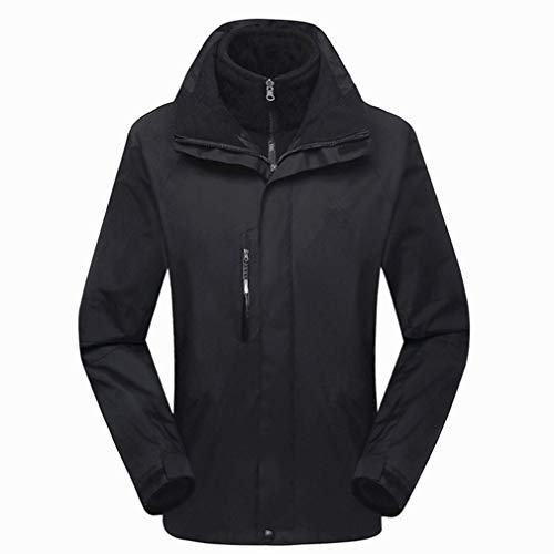 CIKRILAN Herren 3in1 Fleece Lined Waterproof Windproof Hooded Jacken Insulated Camping Hiking Skiing Coat(XL, Black)