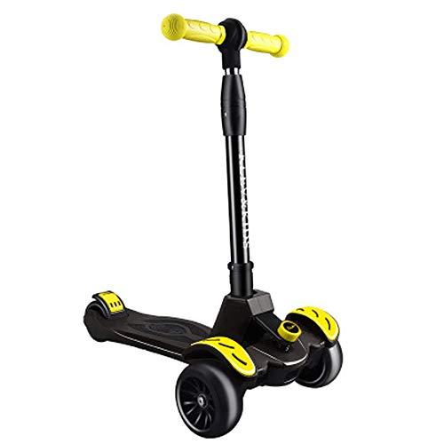 Giow Scooter para Niños, Flash De Cuatro Ruedas Plegable Cuatro Reguladores De Altura,Black