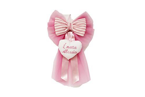 Fiocco Nascita personalizzato con il nome ricamato sul cuore Neo Mamma (rosa)