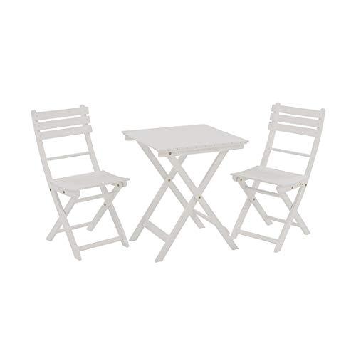 OUTLIV. Balkonset Sitzgruppe Essgruppe für Garten, Balkon oder Terrasse, 3-teilig Akazie weiß lackiert, Dining-Set