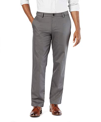 Dockers Men's Straight Fit Signature Lux Cotton Stretch Khaki Pant, Magnet, 32W x 30L