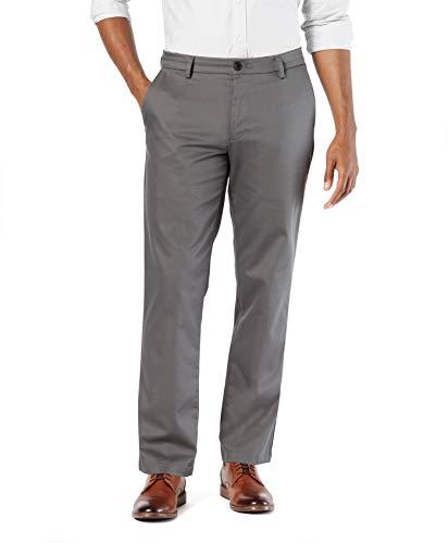 Dockers Men's Straight Fit Signature Lux Cotton Stretch Khaki Pant, Magnet, 34W x 32L