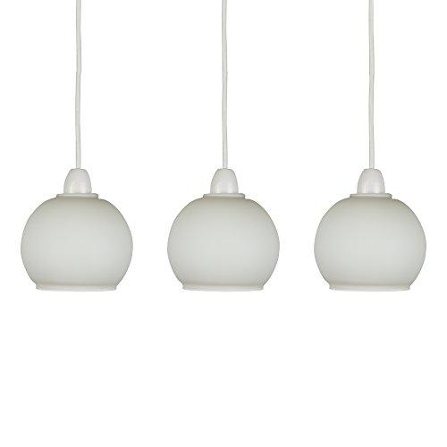 MiniSun – Set de 3 pantallas para lámpara de techo de cristal satinado 'Rometti' – forma de esfera
