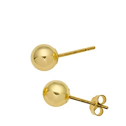 The Olivia Collection - Pendientes de bola (oro amarillo de 9 ct., cierre a presión), oro, 5mm