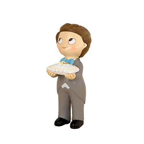Mopec Figura de Pastel de Niño Portando Los Anillos, Resina, Blanco, 5x6x11 cm
