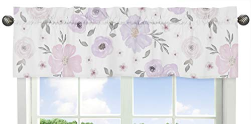 Sweet Jojo Designs Lavender Purple, Pink, Grey and White Window Treatment Valance for Watercolor Floral Collection - Rose Flower