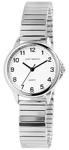 Just Watch Damen-Uhr Zugband Edelstahl Klassisch Elegant Analog Quarz JW10170 (silberfarbig)
