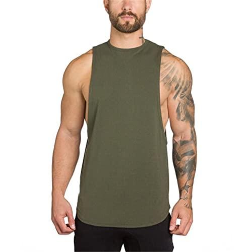 Camiseta Sin Mangas Hombre Moda Verano Cuello Redondo Hombre T-Shirt Color Sólido Sin Mangas Tank Top Básica Suelta Undershirt Casual Ligero Que Absorba Deportiva Shirt D-Green M