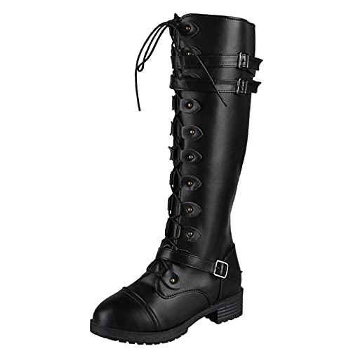 PMUYBHF Damen Stiefel Plattform Boots Gothic Modisch Gerade Langstiefel Keilabsatz Plateau Frauen High Heels Schwarz Sexy Hohe Stiefel