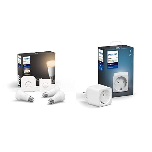 Philips Hue White - Pack de 3 Bombillas LED inteligentes E27, puente de conexión y Smart Button, luz blanca cálida + Philips Hue Enchufe Smart Plug, compatible con Bluetooth y Zigbee