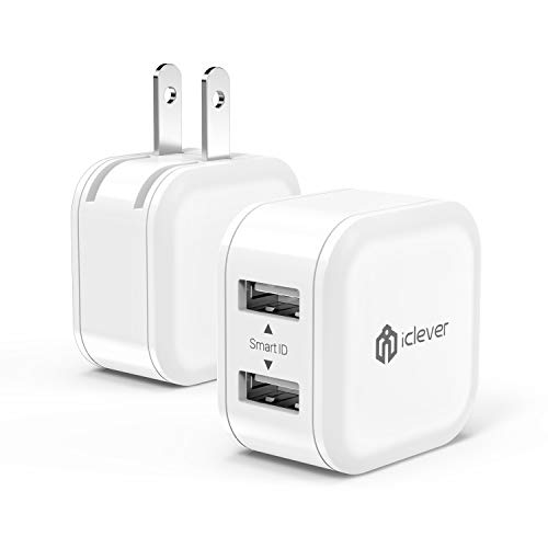 Mini Portable USB Wall Charger, 12W 2-Pack iClever Dual Port Travel Charger Adapter for iPhone 11 Pro Xs Max XR X 8 Plus 7 6, iPad Pro Air Mini, Samsung Galaxy S9 S10 Plus S8 Note 9, HTC, and More
