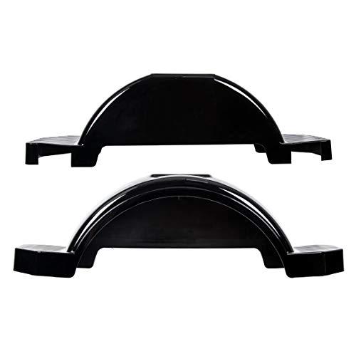 ECOTRIC Set of 2 Single Axle Trailer Fenders 13' Wheels Tire Skirt Boat(Black)
