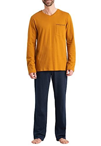 Schiesser Herren Schlafanzug lang Pyjamaset, blaugemustert, 110