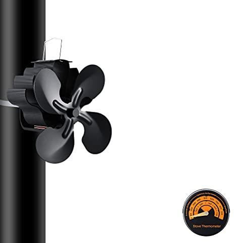 Kaminventilator Stromloser Kaminventilator Lüfter 4 Blättern Holzofen Ventilator Wärmebetriebener Ofenventilator kaminventilator Gratis-Thermometer